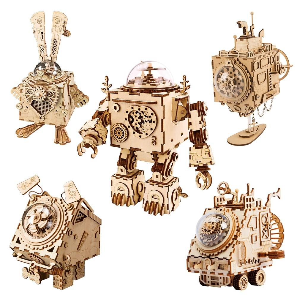 Robot Steampunk Music Box 3D Wooden Puzzle Kit Toys GYOBY® TOYS