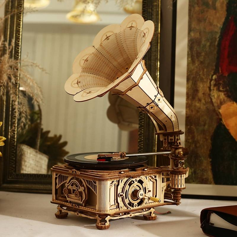 Hand Crank Classic Gramophone 3D Wooden Puzzle Kit GYOBY® TOYS