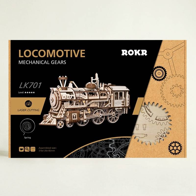 Movable Locomotive 3D Wooden Puzzle Kit Toys GYOBY® TOYS