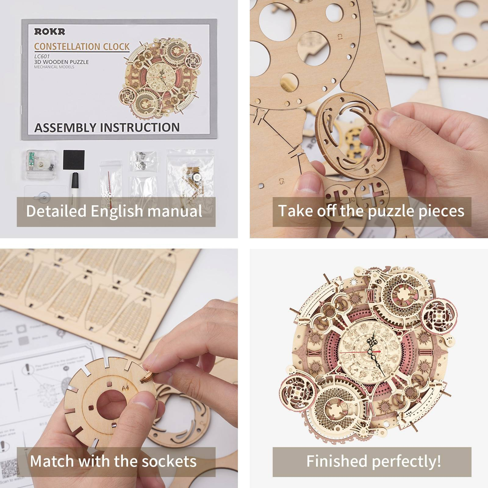 Zodiac Wall Clock 3d Wooden Puzzle Kit Toys GYOBY® TOYS