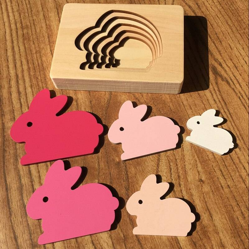 Candywood Kids Wooden Toys For Children Animal Carton 3D Puzzle Multilayer Jigsaw Puzzles Baby Toys Child Early Educational Aids