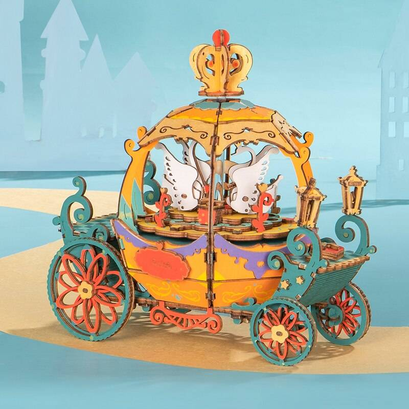 3D Wooden Puzzle Kit Music Pumpkin Carriage and Other