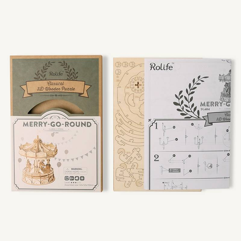 Rolife Merry Go Round 3D Wooden Puzzle Kit Toys