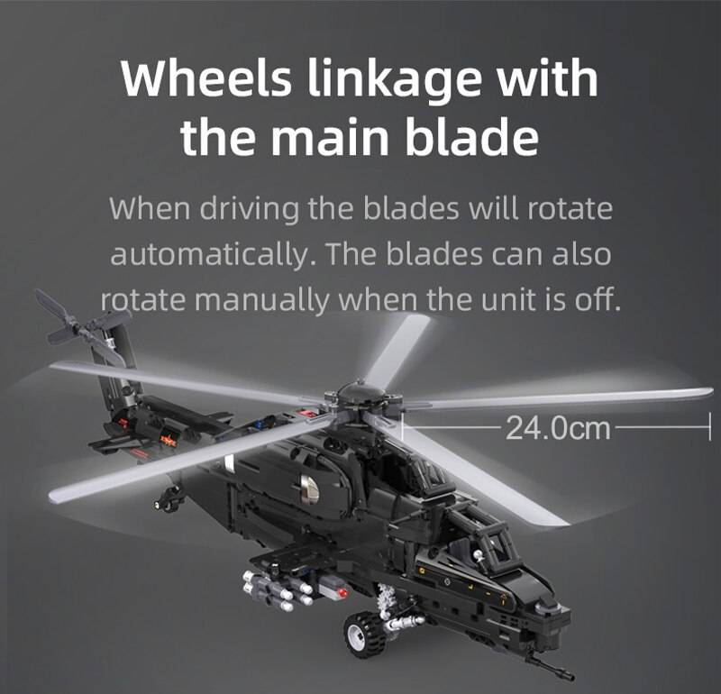 Military RC Helicopter DIY Model Building Blocks Toy