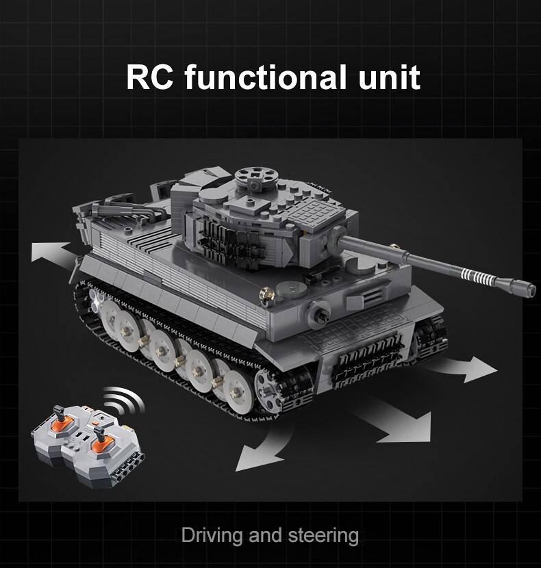Military RC Tiger Tank DIY Model Building Blocks Toy