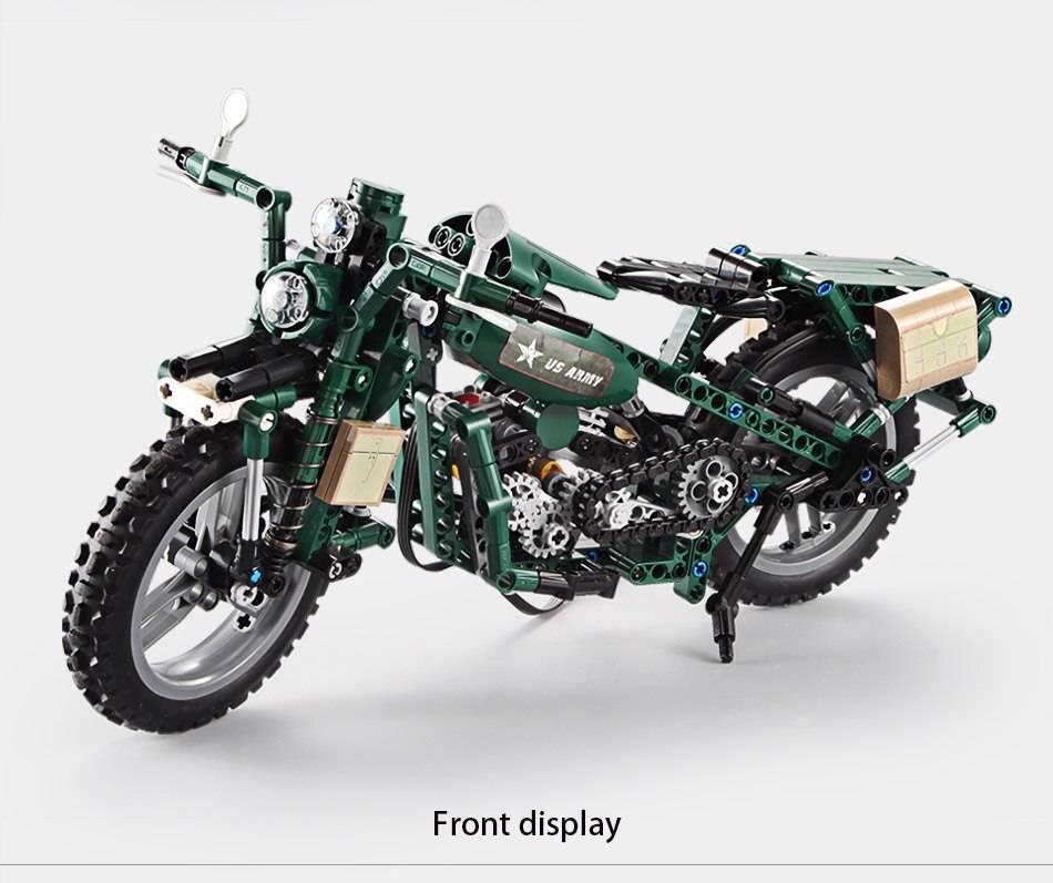 World War 2 Motorcycle DIY Model Building Blocks Toy