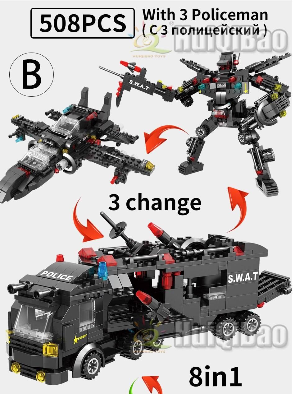 SWAT Police Station Model Building Blocks Toy