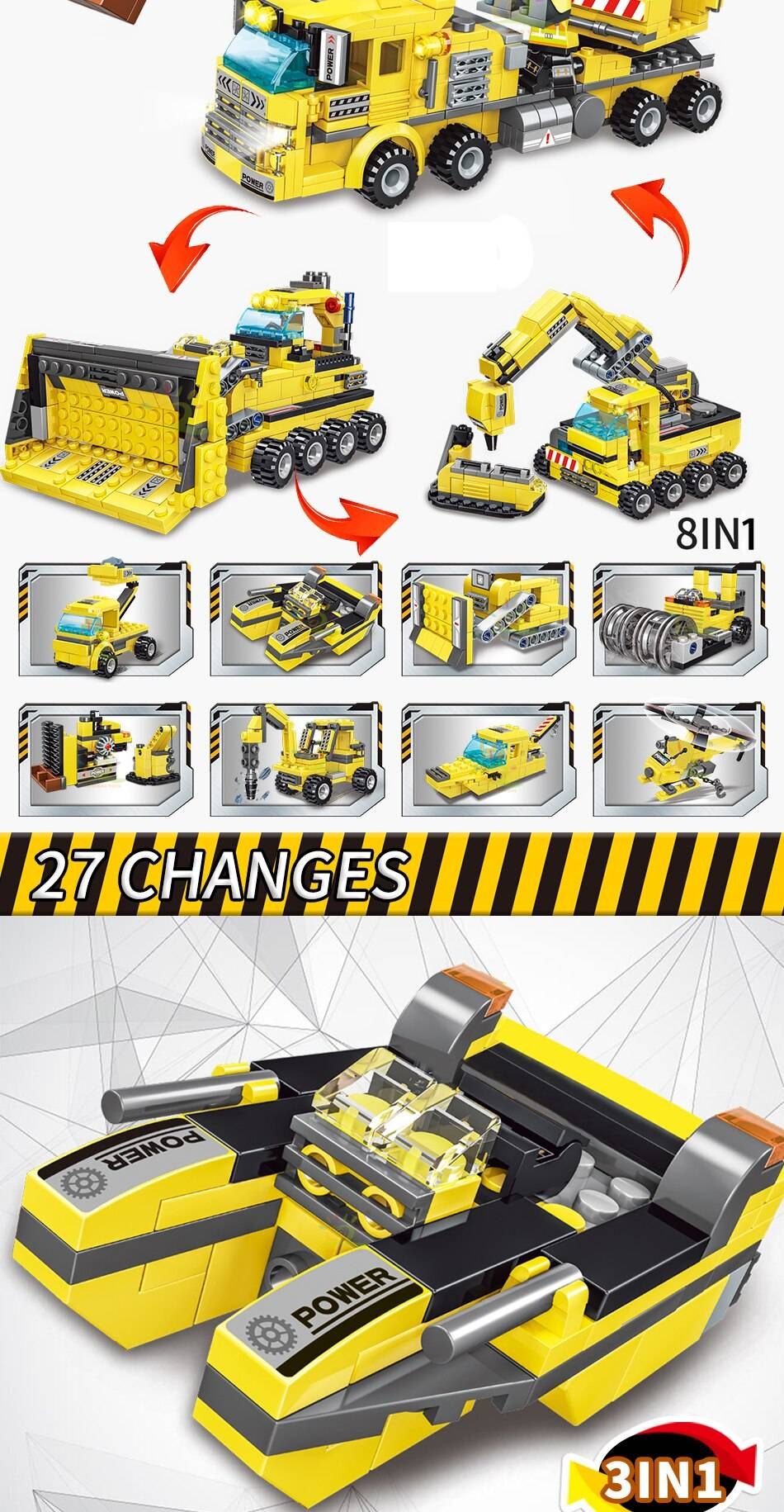 8in1 Engineering Truck Building Blocks Toy