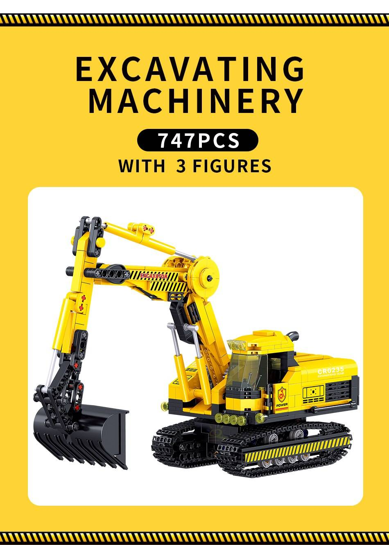 Engineering Excavator Model Building Blocks Toy