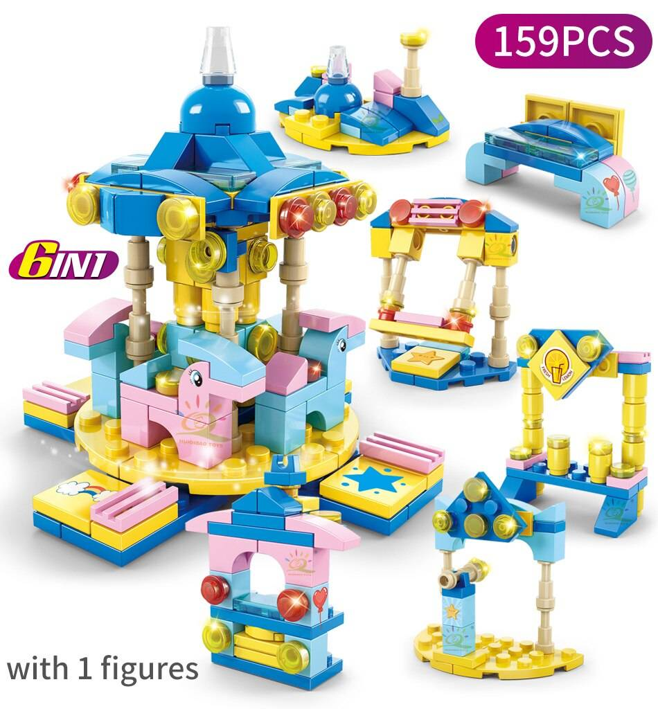 6IN1 Fire Police Army Engineering Building Blocks Toy