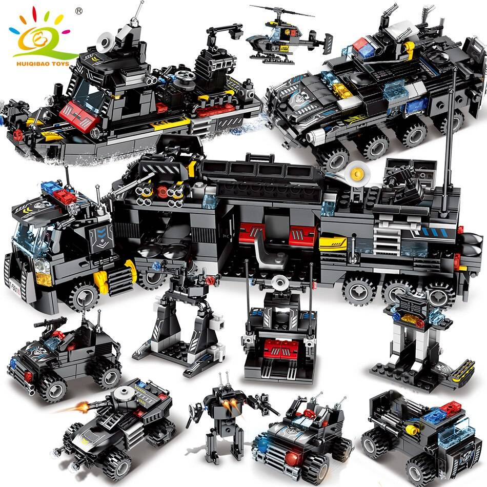 8in1 SWAT Police Command Truck Building Blocks Toy