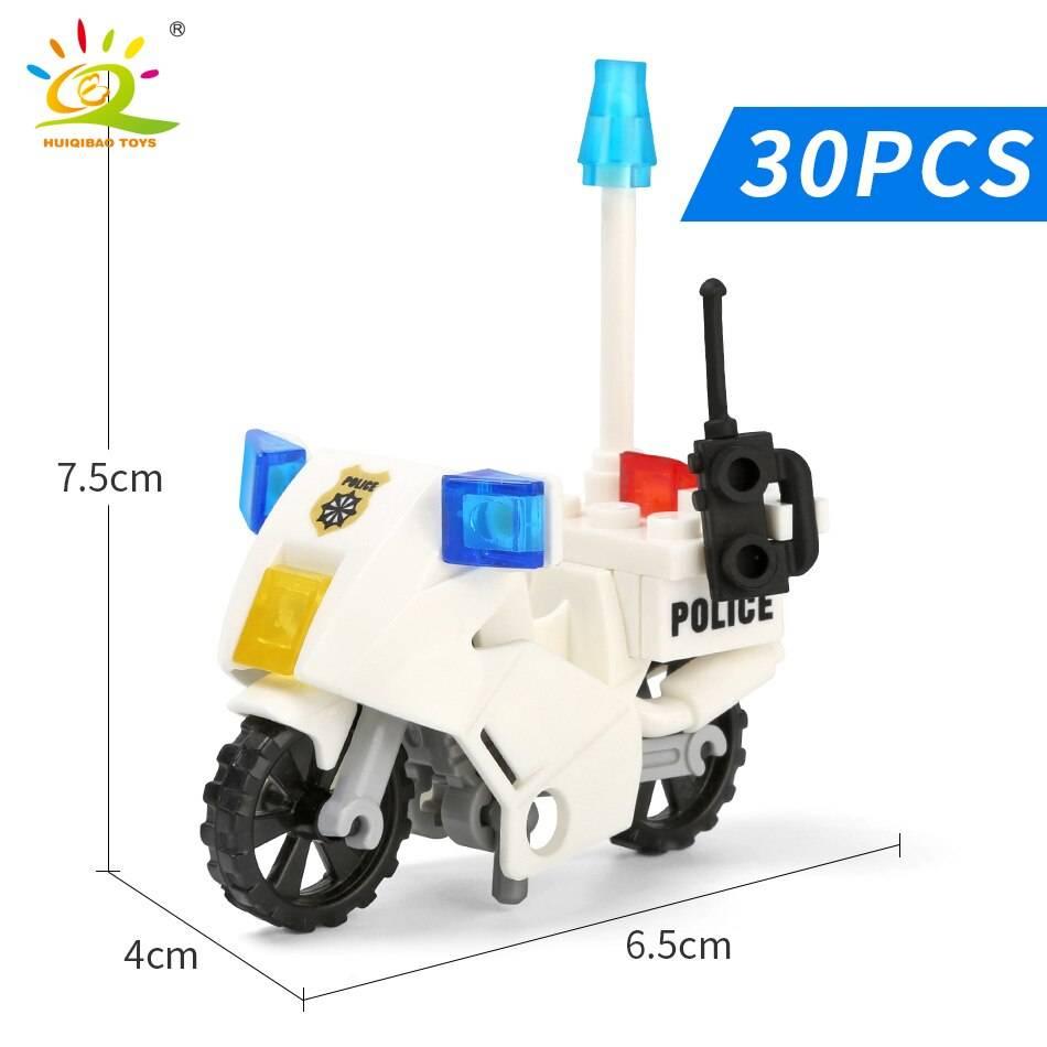 City Police Patrol Motorcycle Building Blocks Toy
