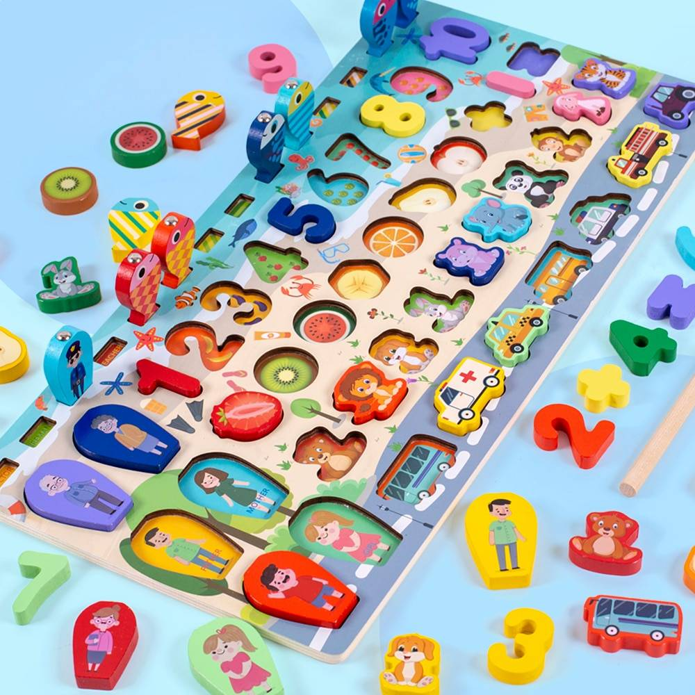 12 Variations Multi-function Wooden Educational Board Toy