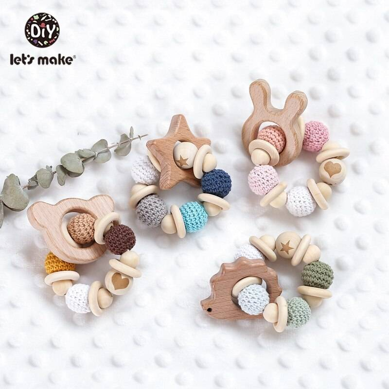 Wooden Beads Baby Rattle Toy