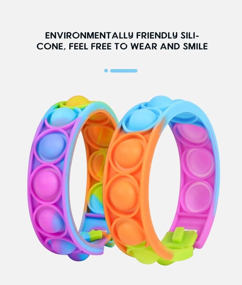 Push Bubble Silicone Bracelet Fidget Toy Pack