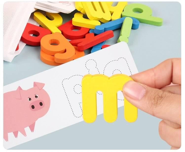 Wooden English Alphabet Puzzle Educational Toy