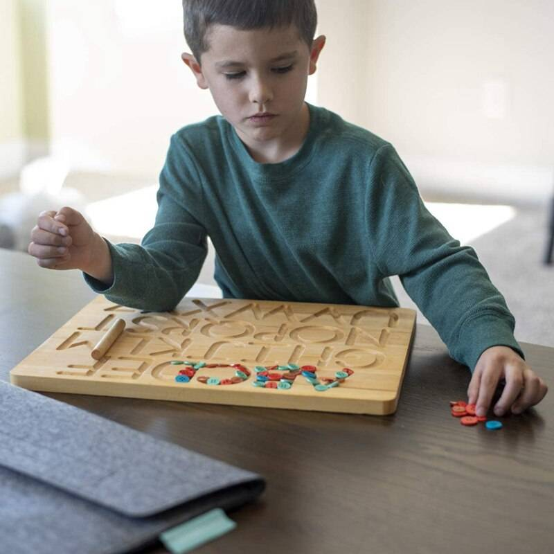 Wooden Alphabet Tracing Board Educational Toy