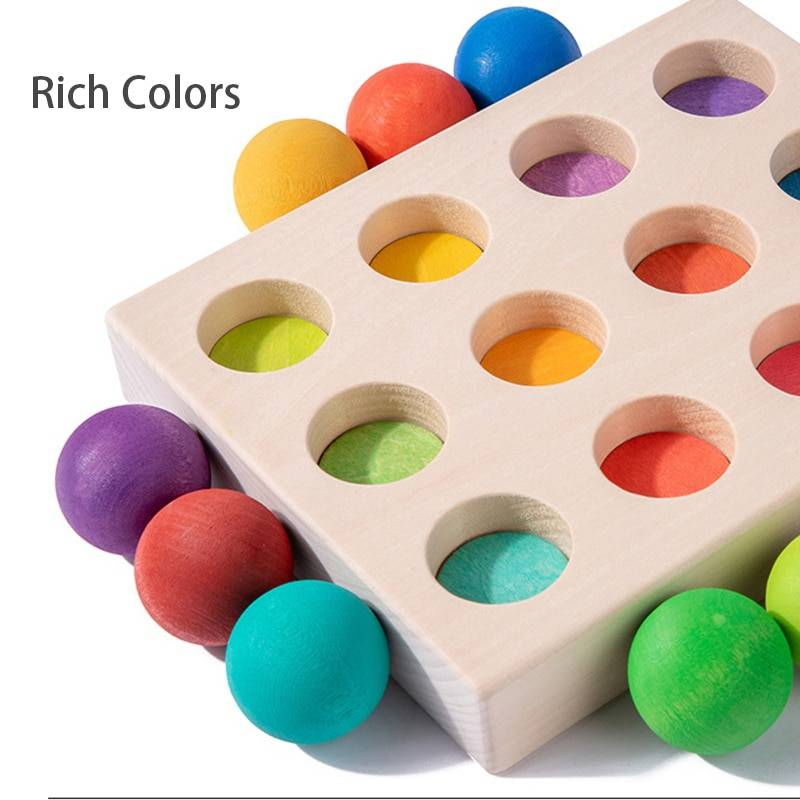 Children Wooden Rainbow Board Educational Toys Montessori Rainbow Bead Color Cognitive Matching Sensory Toys Fine Motor Training GYOBY® TOYS