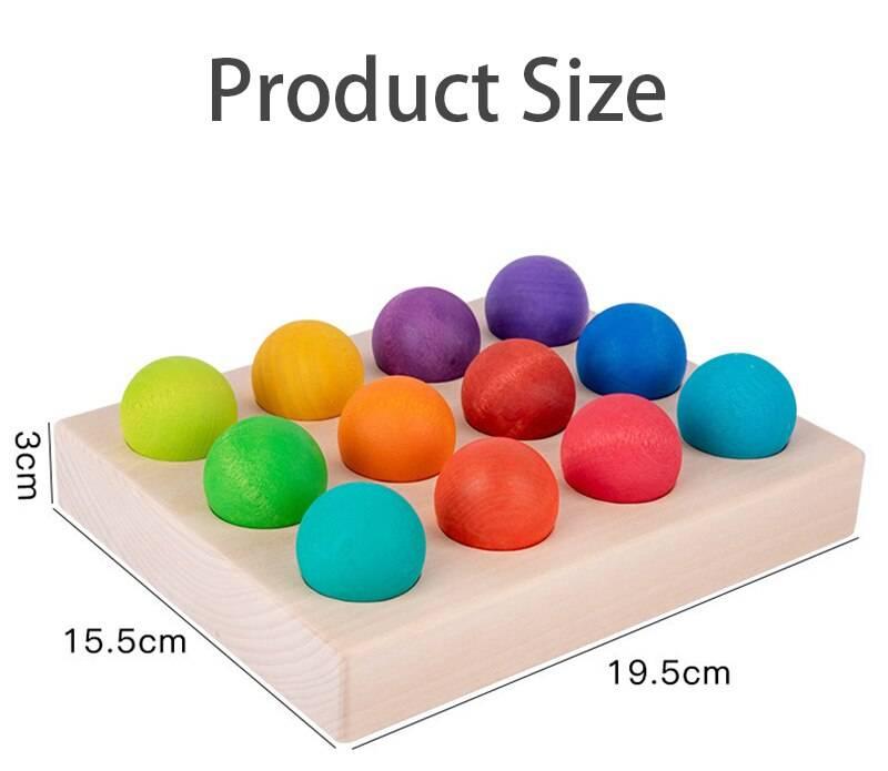 Children Wooden Rainbow Board Educational Toys Montessori Rainbow Bead Color Cognitive Matching Sensory Toys Fine Motor Training