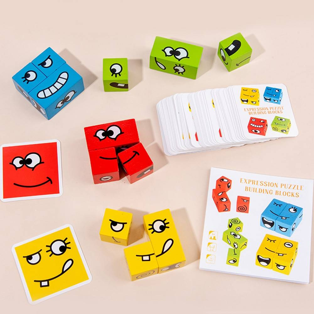 Wooden Expression Puzzles Toy Face Changing Logical Thinking Training Building Blocks Logical Thinking Montessori Education Toys GYOBY® TOYS