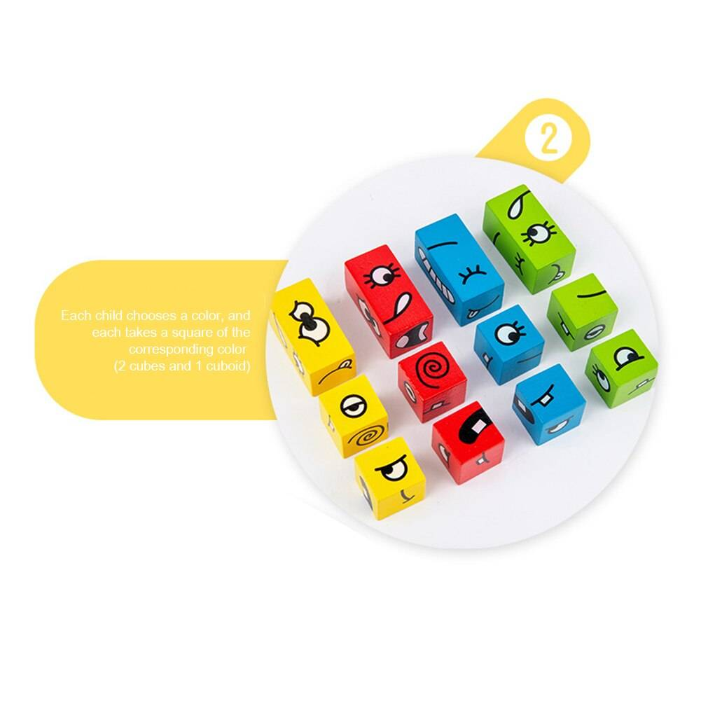 Wooden Expression Puzzles Toy Face Changing Logical Thinking Training Building Blocks Logical Thinking Montessori Education Toys