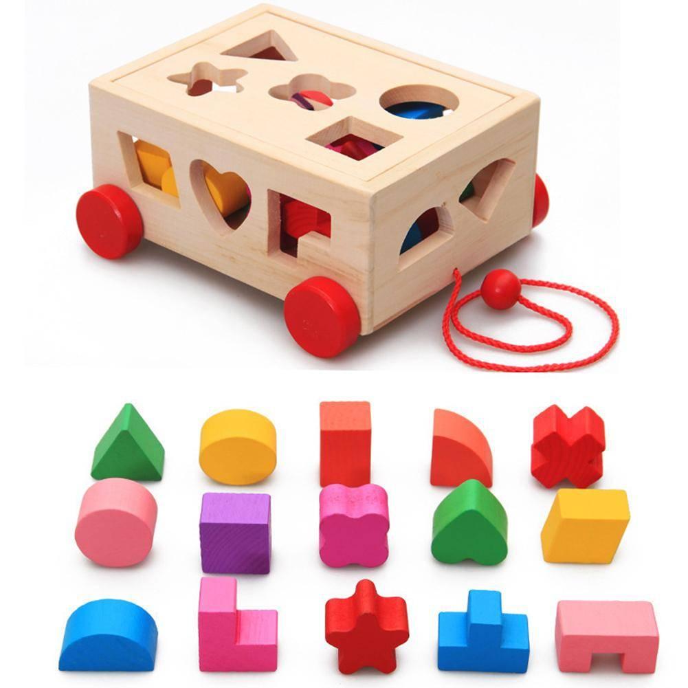 Kids Shape Sorter Toy Wooden Pull Along Car Shape Sorter Matching Blocks Box Kids Intelligence Educational Toys For Kids GYOBY® TOYS