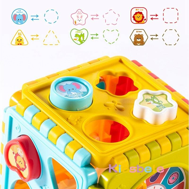 Baby Activity Cube Toys Shape Sorting Toddler Early Learning Educational Toys Infant First Blocks Set Colorful Number Sorter