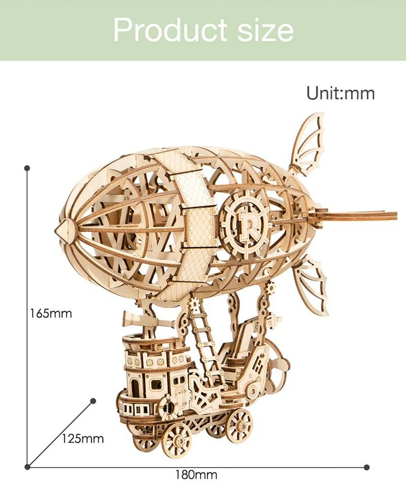 Airship 3D Wooden Puzzle Kit Toys for Kids and Teens