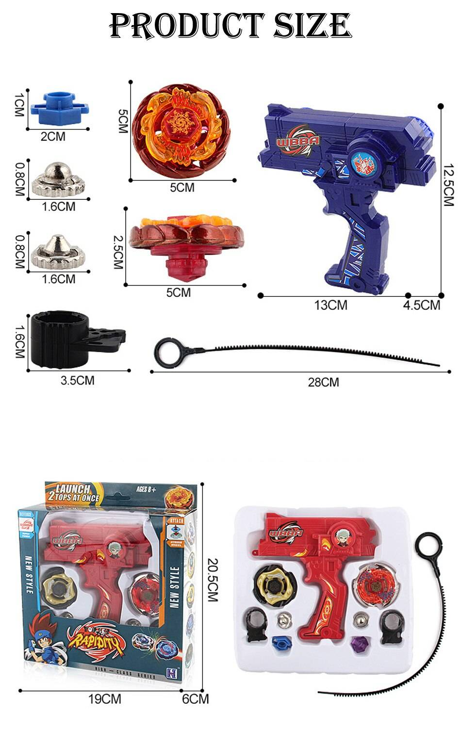 Beyblade Metal Fusion Spinning Tops Toy with Dual Launchers