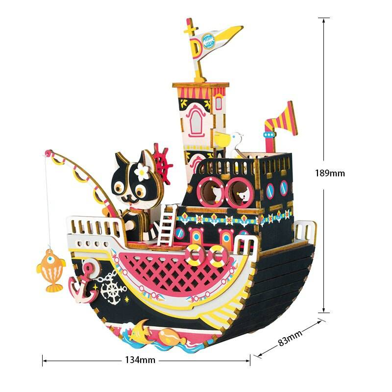 Colorful Music Box 3D Wooden Puzzle Kit Toys