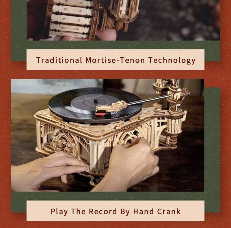 Hand Crank Classic Gramophone 3D Wooden Puzzle Kit