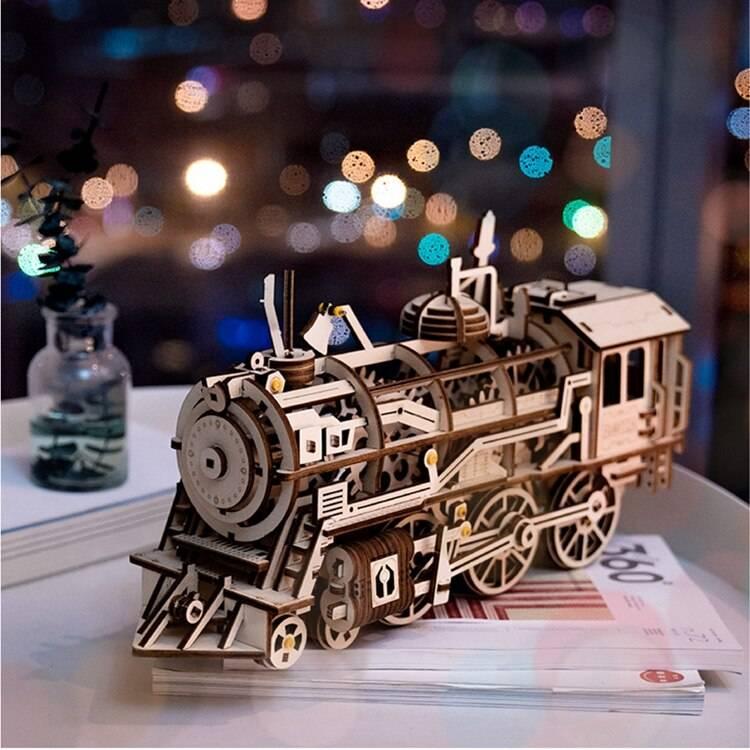Movable Locomotive 3D Wooden Puzzle Kit Toys