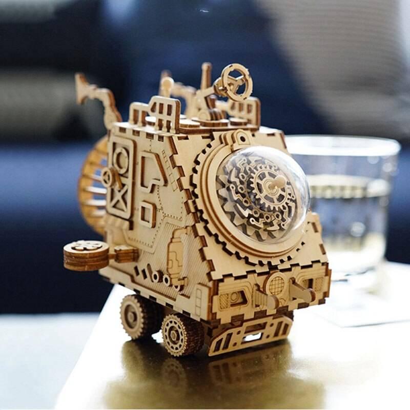 Robot Steampunk Music Box 3D Wooden Puzzle Kit Toys
